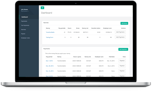 Dashboard for our Nanny Payroll Service
